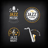 Jazz music party logo and badge design. Vector with graphic. Royalty Free Stock Photography