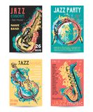 Jazz music party with musical instruments. Saxophone, guitar, cello, drum kit with grunge watercolor splashes. Design template for invitation, card, poster stock illustration