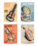 Jazz music party with musical instruments. Saxophone, guitar, cello, gramophone with grunge watercolor splashes. Design template for invitation, card, poster stock illustration