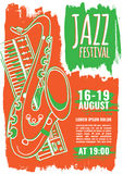 Jazz music poster template Royalty Free Stock Photos