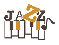 Jazz music promotional emblem with piano keys and sign. In unusual font. Classy genre name and musical instrument on commercial logotype isolated cartoon flat Stock Photo