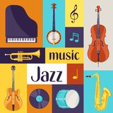 Jazz music retro poster with musical instruments.  Royalty Free Stock Photos