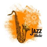 Jazz Music Sassofono classico con le note musicali Illustrazione di vettore Immagine Stock