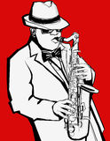Jazz music saxophonist on a red background Stock Image