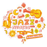 Jazz music. Set of musical instruments keyboard Royalty Free Stock Image