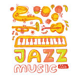 Jazz music. Set of musical instruments keyboard Stock Images