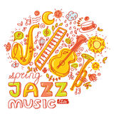 Jazz music. Set of musical instruments keyboard Royalty Free Stock Photos