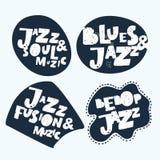 Jazz Music sticker Het moderne Kalligrafiehand Van letters voorzien voor Serigrafiedruk Stock Afbeelding