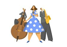 Jazz music trio. Contrabassist, saxophonist and singer. Abstract Vector illustration. Jazz music trio. Contrabassist, saxophonist and singer on stage. Abstract Stock Image