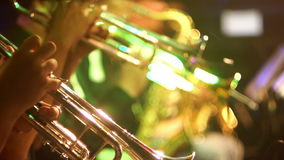 Jazz music trump classic. Fragment jazz trumpet closeup in concert stock video footage