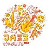 Jazz Music Uppsättning av musikinstrumenttangentbordet Royaltyfria Foton