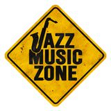 Jazz Music Zone Sign. Music Zone Sign Grunge Metal Roadside Highway Rusted Vintage Antique Tin Old yield jazz country pop rock Austin Memphis stock photography