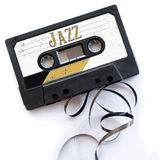 Jazz musical genres audio tape label.  royalty free stock photography
