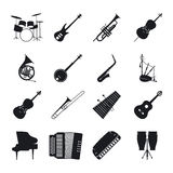 Jazz musical instrument silhouettes Stock Photo