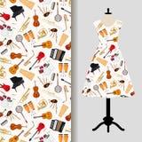 Jazz musical instruments dress fabric pattern. Women dress fabric pattern design with jazz musical instruments. Vector illustration Stock Photo