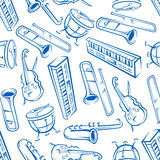 Jazz musical instruments seamless pattern. Jazz orchestra musical instruments background with seamless pattern of blue sketchy saxophones, trombones, timpani Royalty Free Stock Photos