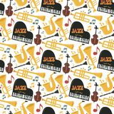Jazz musical instruments tools background jazzband piano saxophone music seamless pattern sound vector illustration rock. Concert note. Entertainment festival vector illustration