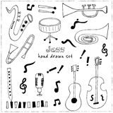 Jazz musical instruments vector set Stock Images