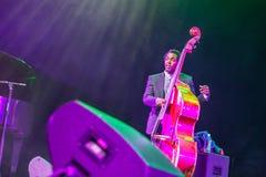 Jazz musician Aaron James at Kaunas Jazz 2015. KAUNAS, LITHUANIA - APRIL 26, 2015: Jazz musician Aaron James performs at the stage of Kaunas Jazz festival Royalty Free Stock Images