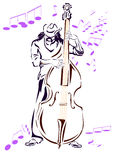 Jazz musician with contrabass Stock Images