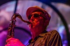 Jazz musician playing the saxophone Stock Photos
