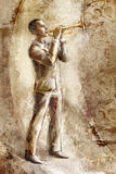 Jazz musician trumpeter on the retro background Stock Images