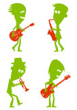 Jazz Musicians. Illustration of four musicians, playing guitar, saxophone, trumpet and bass. Characters are green, instruments are red royalty free illustration