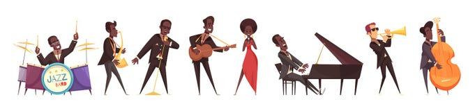 Jazz Musicians Icon Set stock illustration