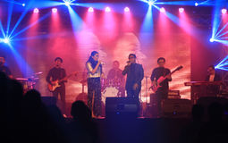 Jazz. Musicians performing entertain fans at a hotel in the city of Solo, Central Java, Indonesia Royalty Free Stock Photos