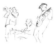 Jazz musicians playing music. Sketch stock illustration