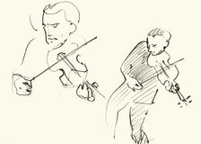 Jazz musicians playing music. Two violin players Stock Photos
