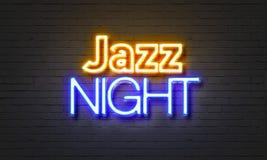 Jazz night neon sign on brick wall background. Stock Photos