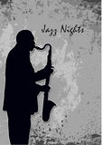 Jazz Nights. A noir illustration of a Jazz themed poster. A saxophone player against dark background Royalty Free Stock Photo