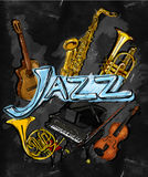 Jazz Painting Instrument. Musical Background Stock Photos