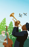 Jazz in the Park. Bassist and horn blower in outdoor performance Royalty Free Illustration