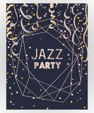 Jazz  party invitation. Design template with rose gold polygonal frame, confetti and serpentine. Vector illustration Royalty Free Stock Images