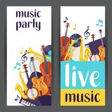 Jazz party live music banners with musical instruments.  Royalty Free Stock Images