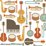 Jazz pattern. Seamless pattern with jazz instruments. isolated on white Stock Images