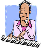 Jazz pianist cartoon illustration Royalty Free Stock Photo