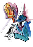 Jazz pianist and female singer Royalty Free Stock Image