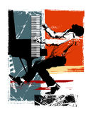 Jazz pianist on a grunge background Royalty Free Stock Images