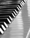 Jazz piano. Detail of a jazz piano in black and white Royalty Free Stock Photography