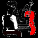 Jazz piano and double-bass. Vector illustration of a Jazz piano and double-bass Royalty Free Stock Image