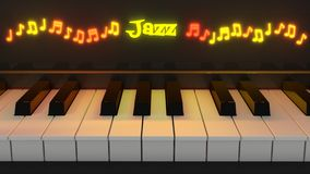 Jazz piano keyboard with glowing notes Stock Photo