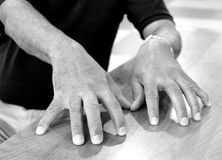 Jazz piano player hands. Stock Images