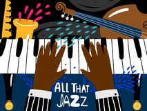 Jazz piano poster. Blues and jazz rhythm musical art festival, vector vintage music band concert poster template in. Jazz piano poster. Blues and jazz rhythm vector illustration