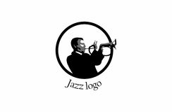 Jazz player logo. A logo that shows a jazz player playing a trumpet, in a circle with text fitted to the lower circle. It is done in black and white Royalty Free Stock Photo