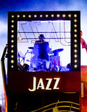 Jazz player at night Stock Images