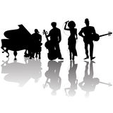 Jazz players. Silhouettes against white background Stock Photo