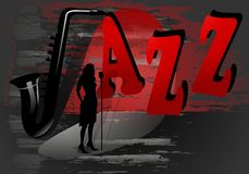 Jazz poster, cdr vector. Jazz poster with singer's silhouette on grungy black and red background, vector format stock illustration